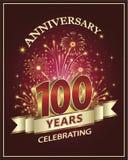 100 Jahre Jahrestag auf einem roten Hintergrund lizenzfreie abbildung