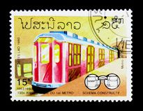130 Jahre Jahrestag der Metros, Eisenbahnen serie, circa 1993 Lizenzfreie Stockfotografie