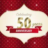 50 Jahre Jahrestag feiern Goldene Art Vektor stock abbildung