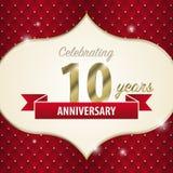 10 Jahre Jahrestag feiern Goldene Art Vektor lizenzfreie abbildung