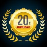 20 Jahre Jahrestag Gold-und rotes Ausweislogo Vektorabbildung EPS10 lizenzfreie abbildung