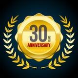 30 Jahre Jahrestag Gold-und rotes Ausweislogo Vektorabbildung EPS10 stock abbildung