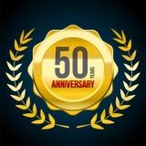 50 Jahre Jahrestag Gold-und rotes Ausweislogo Vektorabbildung EPS10 vektor abbildung