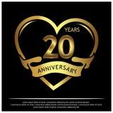 20 Jahre Jahrestag golden Jahrestagsschablonenentwurf für Netz, Spiel, kreatives Plakat, Broschüre, Broschüre, Flieger, Zeitschri lizenzfreie abbildung