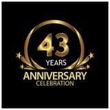 43 Jahre Jahrestag golden Jahrestagsschablonenentwurf für Netz, Spiel, kreatives Plakat, Broschüre, Broschüre, Flieger, Zeitschri stock abbildung