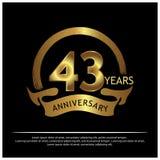 43 Jahre Jahrestag golden Jahrestagsschablonenentwurf für Netz, Spiel, kreatives Plakat, Broschüre, Broschüre, Flieger, Zeitschri lizenzfreie abbildung