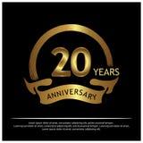 20 Jahre Jahrestag golden Jahrestagsschablonenentwurf für Netz, Spiel, kreatives Plakat, Broschüre, Broschüre, Flieger, Zeitschri vektor abbildung