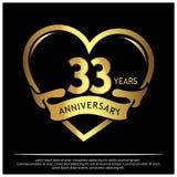 33 Jahre Jahrestag golden Jahrestagsschablonenentwurf für Netz, Spiel, kreatives Plakat, Broschüre, Broschüre, Flieger, Zeitschri lizenzfreie abbildung