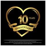 10 Jahre Jahrestag golden Jahrestagsschablonenentwurf für Netz, Spiel, kreatives Plakat, Broschüre, Broschüre, Flieger, Zeitschri vektor abbildung
