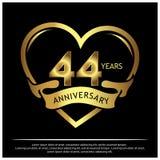 44 Jahre Jahrestag golden Jahrestagsschablonenentwurf für Netz, Spiel, kreatives Plakat, Broschüre, Broschüre, Flieger, Zeitschri stock abbildung
