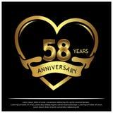 58 Jahre Jahrestag golden Jahrestagsschablonenentwurf für Netz, Spiel, kreatives Plakat, Broschüre, Broschüre, Flieger, Zeitschri stock abbildung