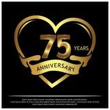 75 Jahre Jahrestag golden Jahrestagsschablonenentwurf für Netz, Spiel, kreatives Plakat, Broschüre, Broschüre, Flieger, Zeitschri vektor abbildung