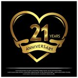 21 Jahre Jahrestag golden Jahrestagsschablonenentwurf für Netz, Spiel, kreatives Plakat, Broschüre, Broschüre, Flieger, Zeitschri stock abbildung