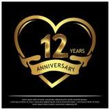 12 Jahre Jahrestag golden Jahrestagsschablonenentwurf für Netz, Spiel, kreatives Plakat, Broschüre, Broschüre, Flieger, Zeitschri stock abbildung