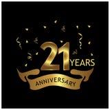 21 Jahre Jahrestag golden Jahrestagsschablonenentwurf für Netz, Spiel, kreatives Plakat, Broschüre, Broschüre, Flieger, Zeitschri lizenzfreie abbildung