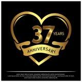 37 Jahre Jahrestag golden Jahrestagsschablonenentwurf für Netz, Spiel, kreatives Plakat, Broschüre, Broschüre, Flieger, Zeitschri stock abbildung