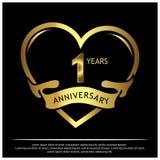 1 Jahre Jahrestag golden Jahrestagsschablonenentwurf für Netz, Spiel, kreatives Plakat, Broschüre, Broschüre, Flieger, Zeitschrif stock abbildung
