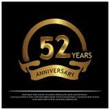 52 Jahre Jahrestag golden Jahrestagsschablonenentwurf für Netz, Spiel, kreatives Plakat, Broschüre, Broschüre, Flieger, Zeitschri stock abbildung