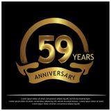 59 Jahre Jahrestag golden Jahrestagsschablonenentwurf für Netz, Spiel, kreatives Plakat, Broschüre, Broschüre, Flieger, Zeitschri lizenzfreie abbildung