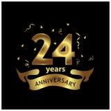 24 Jahre Jahrestag golden Jahrestagsschablonenentwurf für Netz, Spiel, kreatives Plakat, Broschüre, Flieger, Zeitschrift, invitat stock abbildung