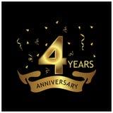 4 Jahre Jahrestag golden Jahrestagsschablonenentwurf für Netz, Spiel, kreatives Plakat, Broschüre, Broschüre, Flieger, Zeitschrif stock abbildung