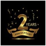 2 Jahre Jahrestag golden Jahrestagsschablonenentwurf für Netz, Spiel, kreatives Plakat, Broschüre, Broschüre, Flieger, Zeitschrif lizenzfreie abbildung