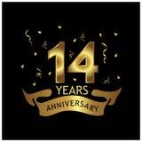 14 Jahre Jahrestag golden Jahrestagsschablonenentwurf für Netz, Spiel, kreatives Plakat, Broschüre, Flieger, Zeitschrift, invitat stock abbildung