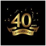 40 Jahre Jahrestag golden Jahrestagsschablonenentwurf für Netz, Spiel, kreatives Plakat, Broschüre, Flieger, Zeitschrift, invitat vektor abbildung