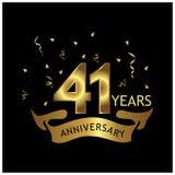 41 Jahre Jahrestag golden Jahrestagsschablonenentwurf für Netz, Spiel, kreatives Plakat, Broschüre, Flieger, Zeitschrift, invitat vektor abbildung