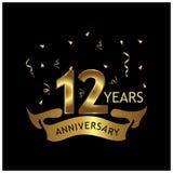 12 Jahre Jahrestag golden Jahrestagsschablonenentwurf für Netz, Spiel, kreatives Plakat, Broschüre, Broschüre, flye lizenzfreie abbildung