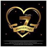 7 Jahre Jahrestag golden Jahrestagsschablonenentwurf f?r Netz, Spiel, kreatives Plakat, Brosch?re, Brosch?re, Flieger, Zeitschrif stock abbildung