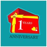 1 Jahre Jahrestag Jahrestagsschablonenentwurf für Netz, Spiel, kreatives Plakat, Broschüre, Broschüre, Flieger, Zeitschrift, Einl stock abbildung