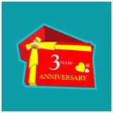 3 Jahre Jahrestag Jahrestagsschablonenentwurf für Netz, Spiel, kreatives Plakat, Broschüre, Broschüre, Flieger, Zeitschrift, Einl stock abbildung