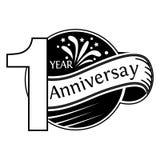 1 Jahre Jahrestag Jahrestagsschablonenentwurf f?r Netz, Spiel, kreatives Plakat, Brosch?re, Brosch?re, Flieger, Zeitschrift, Einl stock abbildung