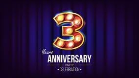 3 Jahre Jahrestags-Fahnen-Vektor- Drei, dritte Feier Weinlese-goldene belichtete Neonlicht-Zahl Für Party lizenzfreie abbildung
