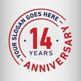 14 Jahre Jahrestags-Feier-Entwurfs-Schablonen- Jahrestagsvektor und -illustration Vierzehn Jahre Logo lizenzfreie abbildung