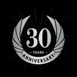 30 Jahre Jahrestagsentwurfs-Schablone Eleganter Jahrestagslogoentwurf Dreißig Jahre Logo stock abbildung