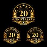 20 Jahre Jahrestagsentwurfs-Schablone Jahrestagsvektor und -illustration 20. Logo lizenzfreie abbildung