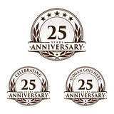25 Jahre Jahrestagsentwurfs-Schablone Jahrestagsvektor und -illustration 25. Logo lizenzfreie abbildung