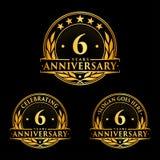 6 Jahre Jahrestagsentwurfs-Schablone Jahrestagsvektor und -illustration 6. Logo lizenzfreie abbildung