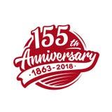 155 Jahre Jahrestagsentwurfs-Schablone Vektor und Illustration 155. Logo lizenzfreie abbildung