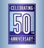 50 Jahre Jahrestagsentwurfsschablone feiernd 50. Logo Vektor und Illustration vektor abbildung