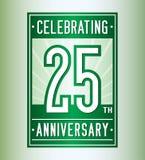 25 Jahre Jahrestagsentwurfsschablone feiernd 25. Logo Vektor und Illustration lizenzfreie abbildung
