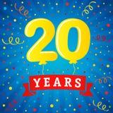 20 Jahre Jahrestagsfeier mit farbigen Ballonen u. Konfettis stock abbildung