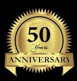 50 Jahre Jahrestagsgolddichtungslogovektor-Design vektor abbildung