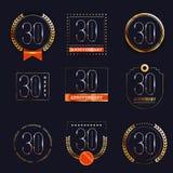 30 Jahre Jahrestagslogo-Satz Lizenzfreie Stockfotografie