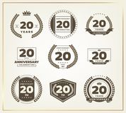 20 Jahre Jahrestagslogo-Satz Lizenzfreies Stockbild