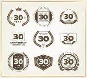 30 Jahre Jahrestagslogo-Satz Lizenzfreie Stockfotos