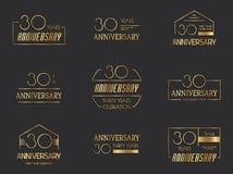 30 Jahre Jahrestagslogo-Satz Stockbilder