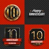 10 Jahre Jahrestagslogos auf den roten und schwarzen Hintergründen Lizenzfreies Stockfoto
